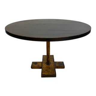 Cisco Home Round Industrial Metal + Wood Table For Sale