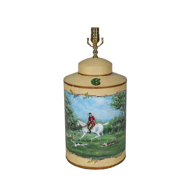 Metal Vintage English Hand-Painted Hunting Scence Tea Caddy Table Lamp For Sale - Image 7 of 7