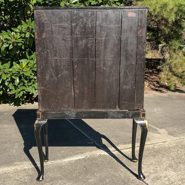 19th Century Ebonized & Hand-Painted Chinoiserie Raised Cabinet For Sale - Image 11 of 12