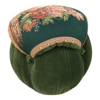 Vintage Green Velvet Ottoman