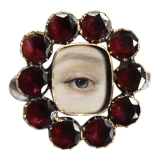 Georgian Lover's Eye Garnet Locket Ring With Custom Painting For Sale