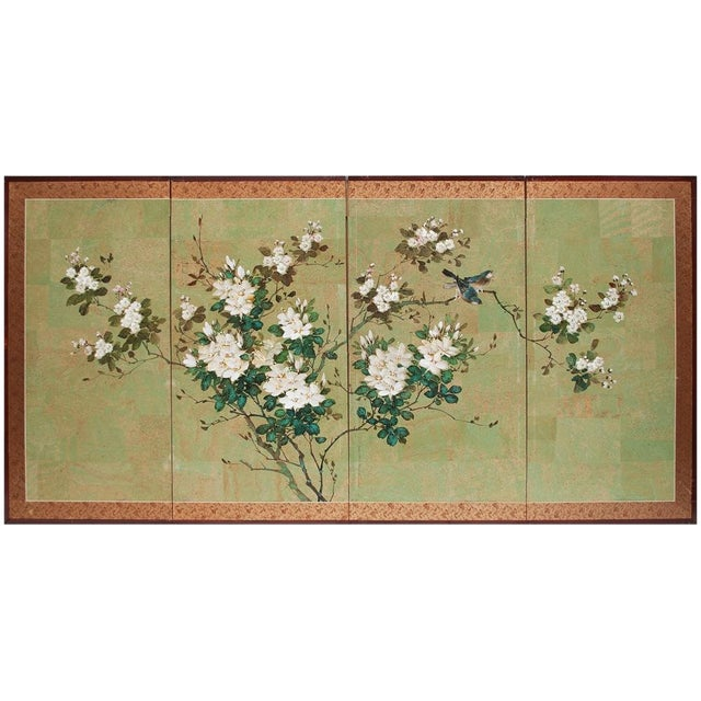 Early 20th Century Japanese Four Panel Byobu Screen For Sale