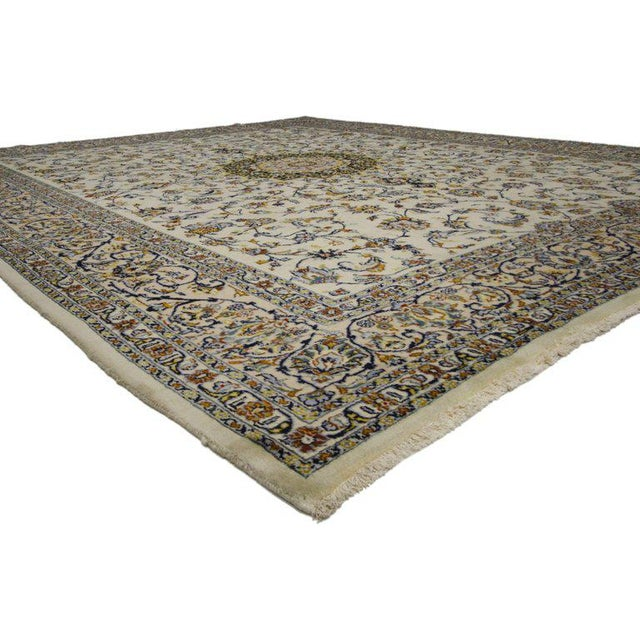 75898, vintage Persian Najafabad rug with light colors. This hand-knotted wool vintage Persian Najafabad rug features a...