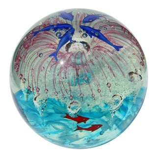 Murano Glass Paperweight Internal Decorations of Dolphins and Sea Life For Sale