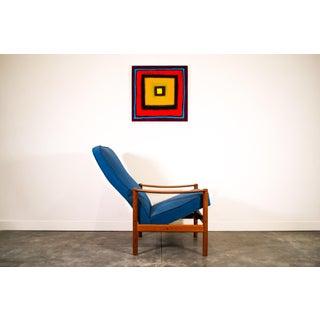 1960s Vintage Original Tweed Fabric Danish Teak Westnofa Recliner Chair Preview