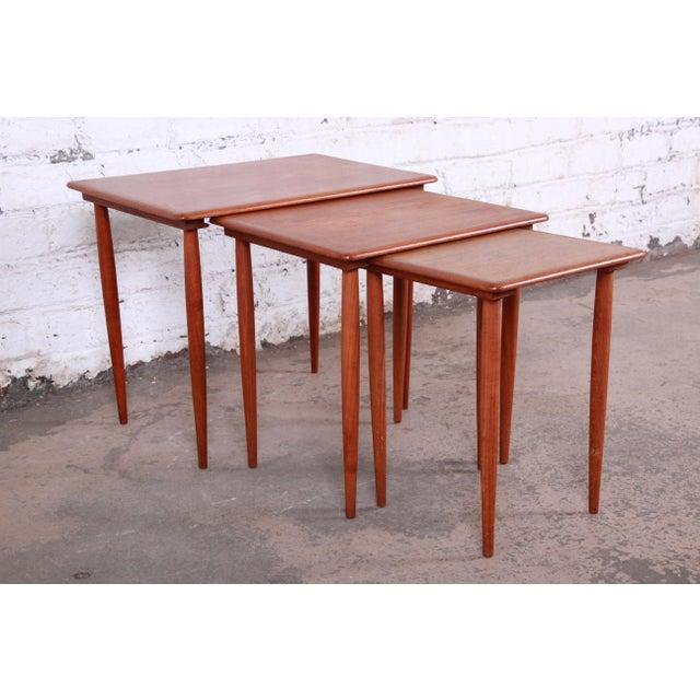 1960s Danish Modern Teak Nesting Tables - Set of 3 For Sale - Image 5 of 11
