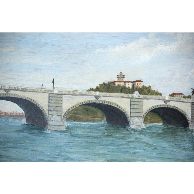 French French Pont Neuf Bridge Oil on Wood Painting For Sale - Image 3 of 5
