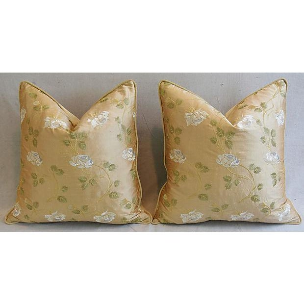 """24"""" Custom Tailored Embroidered White Rose Silk Feather/Down Pillows - Pair For Sale In Los Angeles - Image 6 of 12"""
