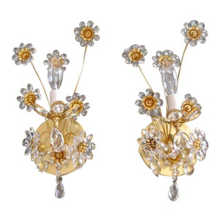 1970s Palwa Crystal and Gilt Brass Floral Flower Wall Sconces - a Pair For Sale