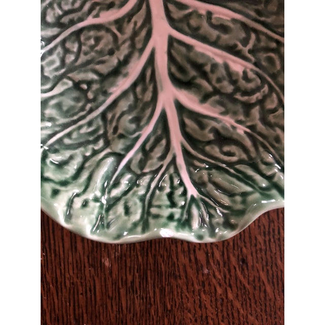 1960s 1960s Majolica Cabbage Leaf Relish Tray by Bordallo Pinhiero of Portugal For Sale - Image 5 of 7
