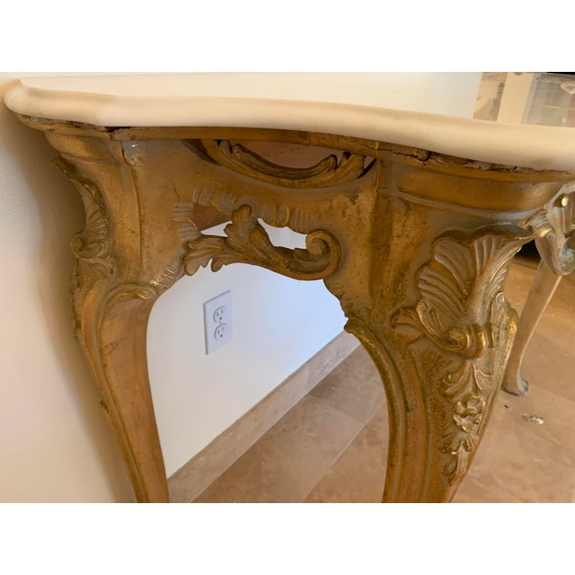 20th Century Louis XV Giltwood Console Table With Marble Top For Sale - Image 4 of 13