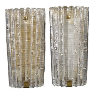 1940s Crystal and Brass Wall Lamps by Carl Fagerlund - a Pair For Sale