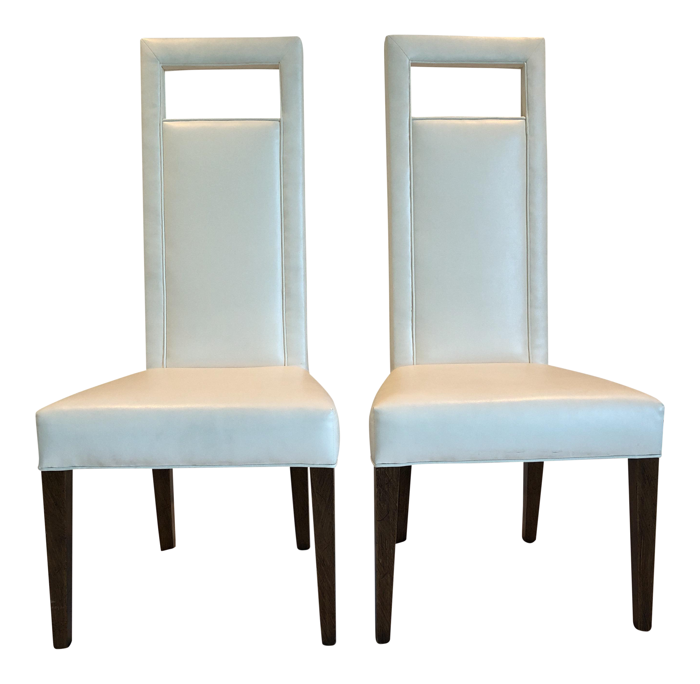 Christopher Kennedy Custom White Leather Dining Chairs   A Pair
