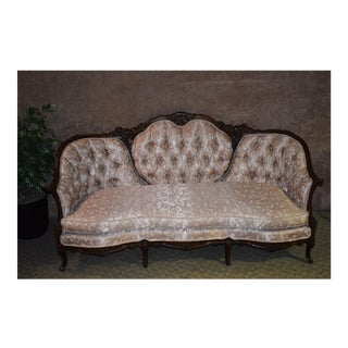 1950s Antique Heavy Carved Mahogany French Style Tufted Back Sofa For Sale