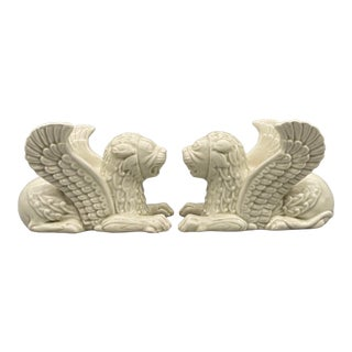 1970's Fitz and Floyd Off-White Griffin Candle Holders - a Pair For Sale