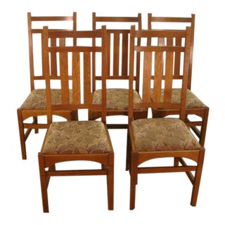 Stickley Mission Oak Arts and Crafts Dining Chairs - Set of 5 For Sale
