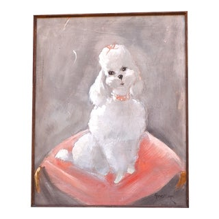 Mid CenturyPoodle/Dog Portrait by Gene Mitchell For Sale
