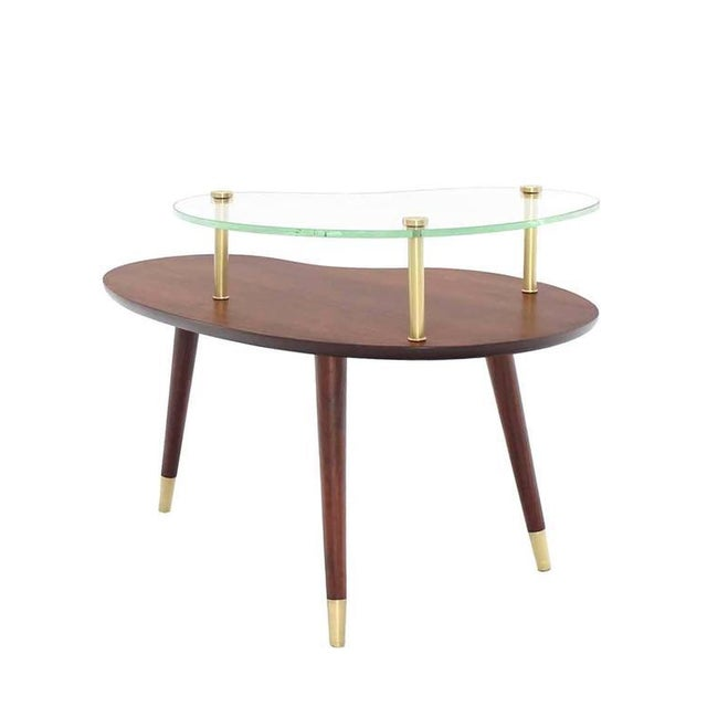 Brown Vintage Mid Century Walnut Glass & Brass Organic Shape Side Table For Sale - Image 8 of 10