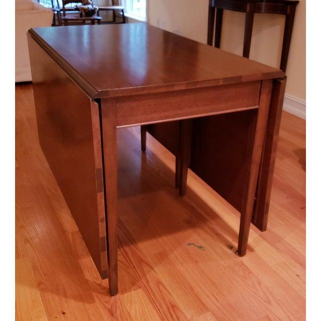 Wood Vintage Mid-Century Modern Cherry Drop Leaf Pembroke Dining Table For Sale - Image 7 of 7