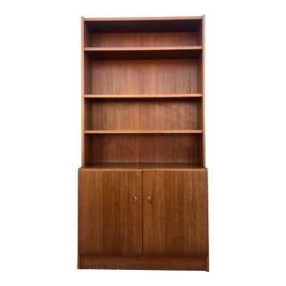 Scandinavian Modern Teak Shelving Unit With Cabinets For Sale