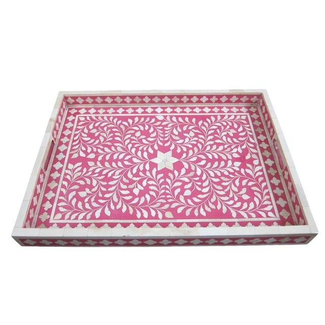 Traditional Bone Inlay Serving Tray - Image 1 of 3