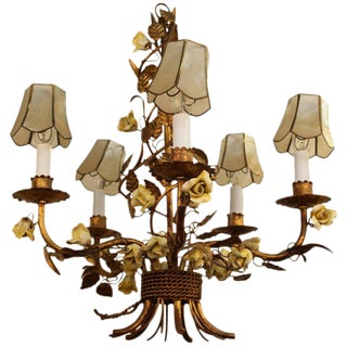 1950s Italian Tole Chandelier With Yellow Roses and Capiz Shell Shades For Sale