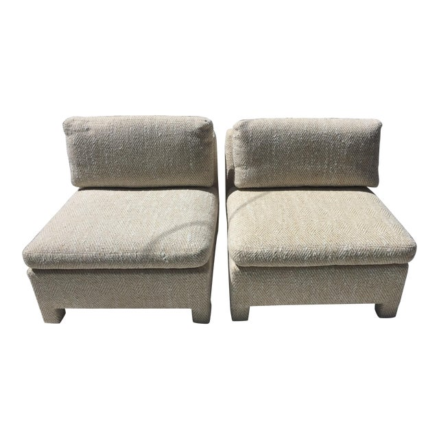 Note: 1 Pair Is on a 5-Day Hold ---Slipper Chairs by Milo Baughman for Thayer Coggin 1979 - a Pair For Sale