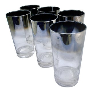 Dorothy Thorpe Style Mid-Century Modern Ombre Silver Fade Highball Glasses - Set of 6