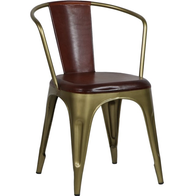 Campaign Industrial Style Leather Brass Cigar Bar Chair For Sale - Image 3 of 4