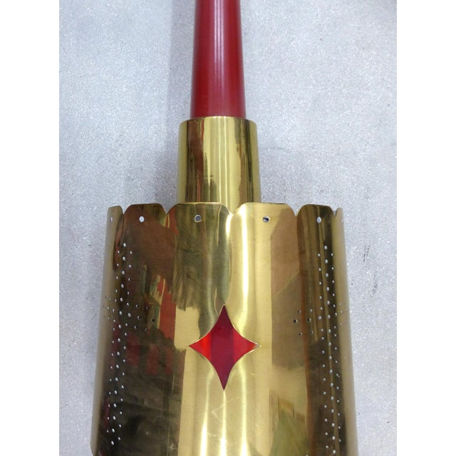 Mid-Century Modern Brass Pendant Fixture - Image 7 of 10