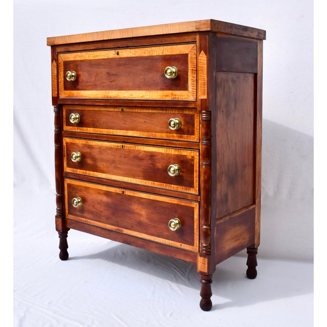 Transitional Antique Sheraton Cherry and Stripe Maple Chest of Drawers, Dresser For Sale - Image 3 of 12