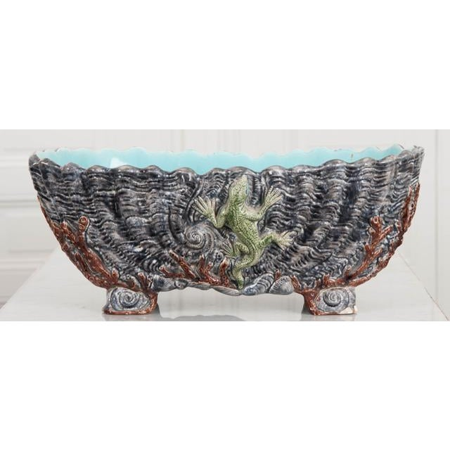 French 19th Century Ceramic Barbotine Planter For Sale - Image 9 of 10