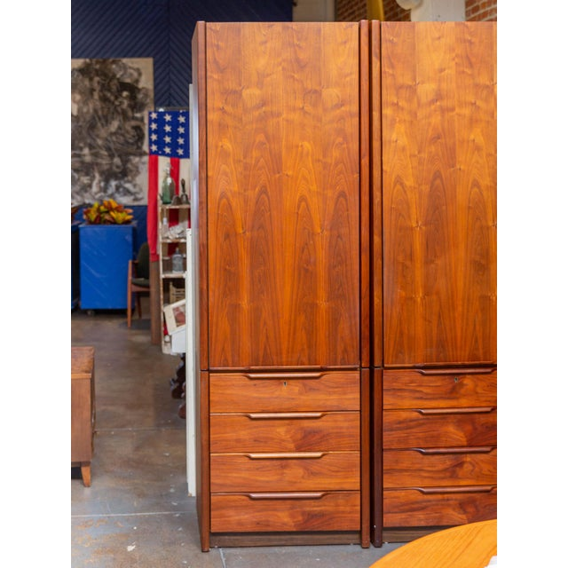 Spectacular pair of 1960's tall nightstand dressers by Barzilay! This impressive pieces offer the most elegant storage...