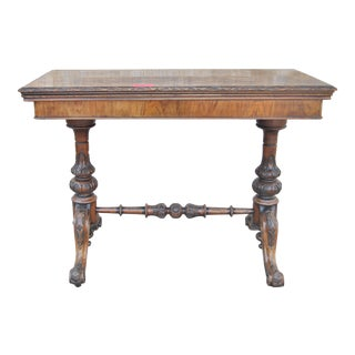 19th Century Victorian Walnut/Burr Walnut English Game/Card Table For Sale