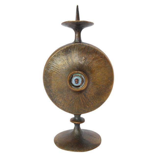 Brutalist Mid-Century Modernist Bronze Candle Holder For Sale - Image 3 of 3