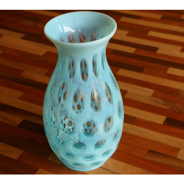 Blue Opalescent Coin Dot Art Glass Vase - Image 8 of 8