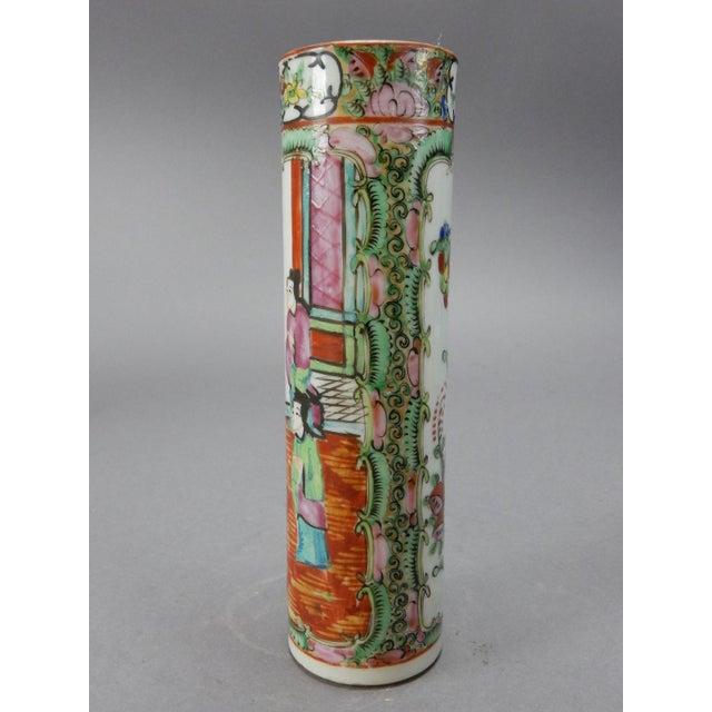Antique Chinese Export Rose Medallion Cylinder Vase - Image 7 of 11
