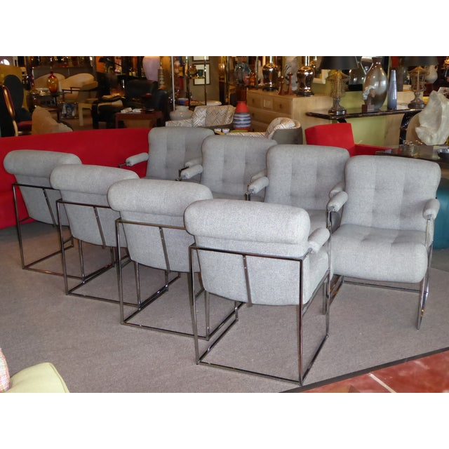 Set of 8 Modern Milo Baughman Thin Line Armed Dining Chairs For Sale - Image 10 of 11