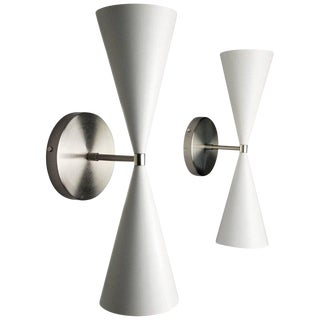Blueprint Lighting Italian Modern Nickel and Enamel Tuxedo Wall Sconces