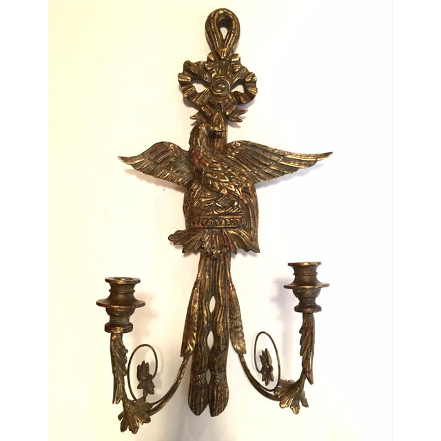 American Federal Style Eagle Wood Carved Two-Light Sconce For Sale - Image 12 of 12