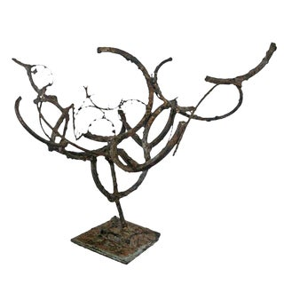 Mid-Century Abstract Brutalist Bronze & Iron Sculpture For Sale