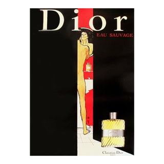 1979 Vintage Christian Dior Eau Sauvage Perfume Ad by Rene Gruau For Sale