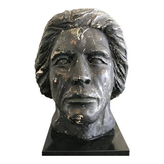 1960s Hollywood Regency Concrete Bust of Man With Good Hair