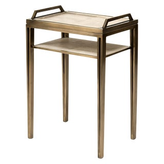 Removable Tray Side Table in Cream Shagreen, Bronze-Patina Brass by R&y Augousti For Sale