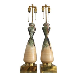 Pair of Mid-Century Modern Earthy Colors Ceramic Lamps For Sale