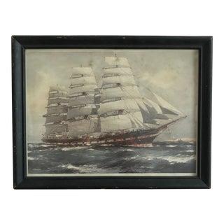 Vintage J. Spurling Full-Rigged Ship Painting Framed Print For Sale