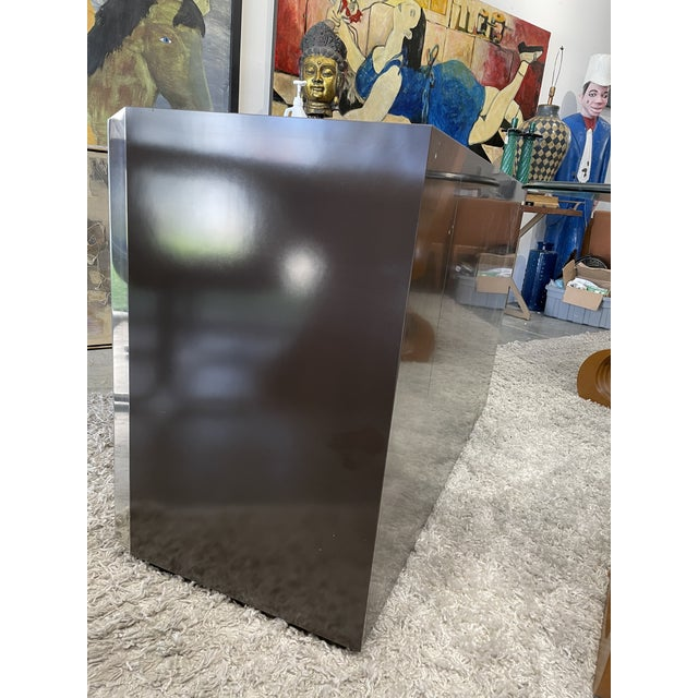 Very elegant limited Italian Willy rizzo cabinet for Mario Sabot 1974. This cabinet is made in dark brown laminated wood,...