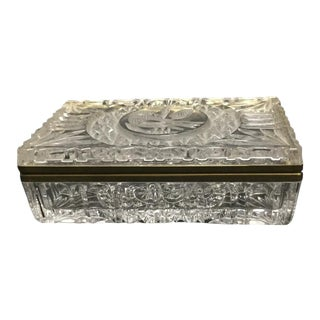 Early 20th Century Antique Glass Brass Trim Trinket Jewelry Box For Sale