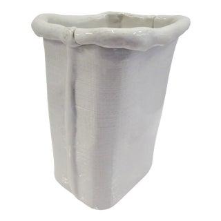 1970s Large Italian Modern Freeform White Ceramic Paper Bag Vase For Sale