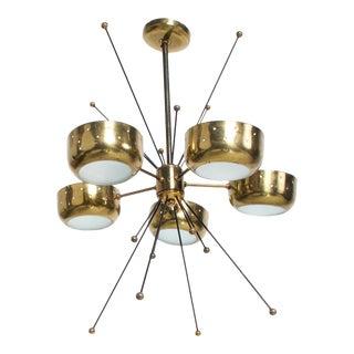 Mid Century Modern Sputnik Italian Chandelier in Brass Pavo Tynell Attr #2 For Sale